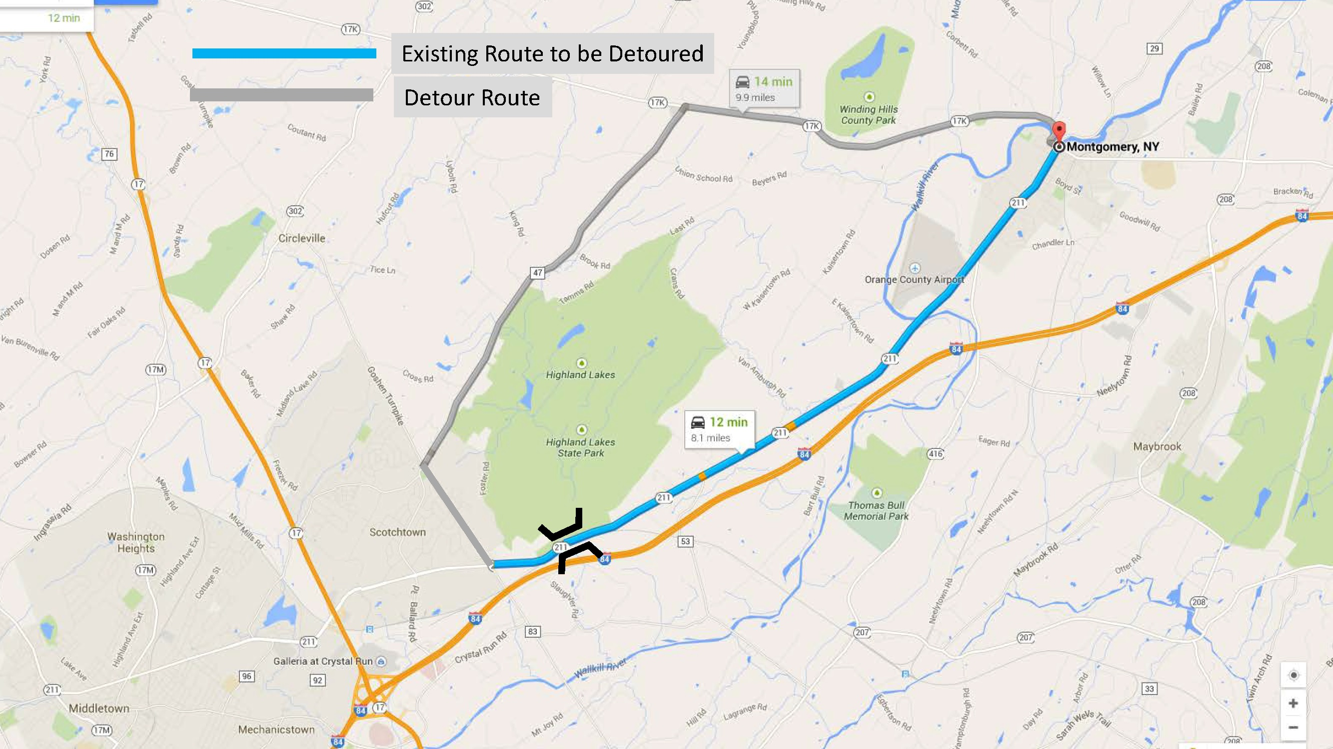 Min Dot Traffic Map.Route 211 Unnamed Creek