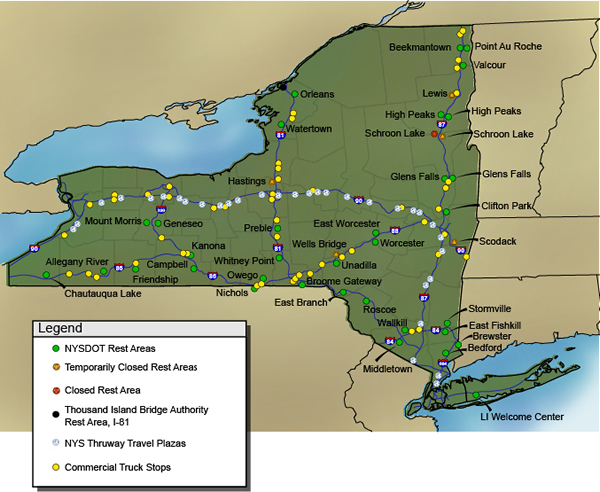 Commercial Motor Vehicle Parking Shortage Truck Parking FHWA - Map of us rest stops